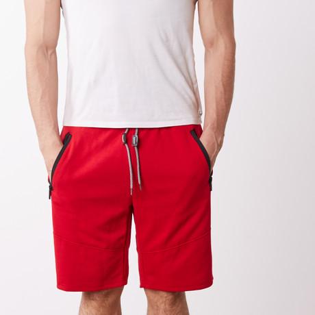 Black Contrast Zipper Sweatshorts // Red (S)