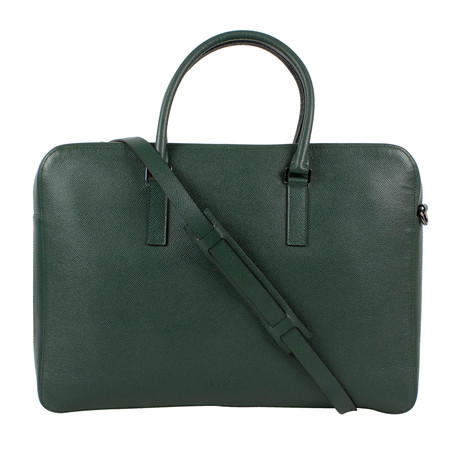Valentino // Pebbled Leather Double Handle Briefcase Bag // Green