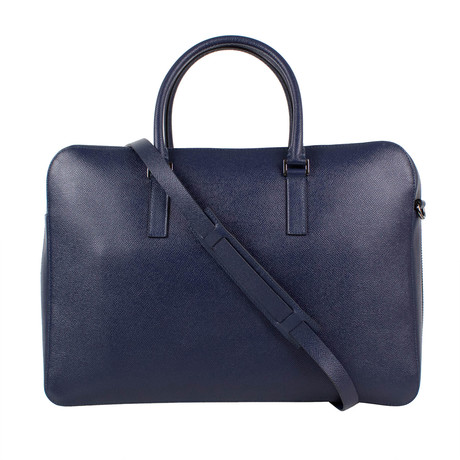 Valentino // Pebbled Leather Double Handle Briefcase Bag // Navy Blue