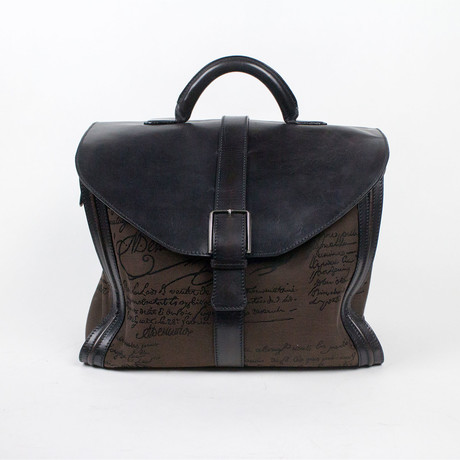 Berluti // Leather + Canvas Large Briefcase Bag // Brown, Black