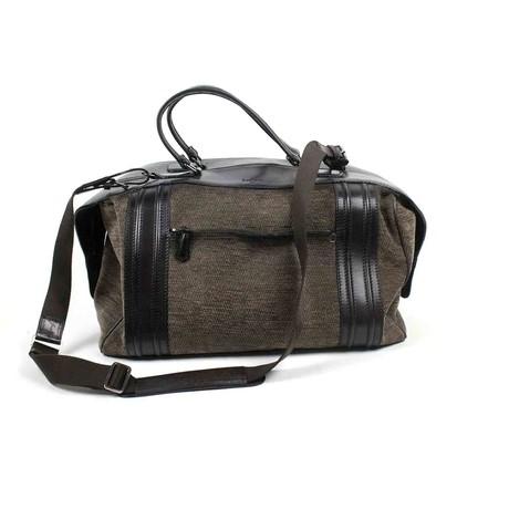 Berluti // Herringbone Wool + Leather Briefcase Shoulder Bag // Brown + Black