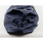 Brioni // Pebbled Leather Shoulder Duffel Boston Weekender Bag // Blue