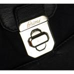 Brioni // Herringbone Cashmere/Leather Bradley Duffel Bag // Navy Blue