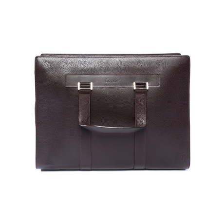 Cartier // Pasha Document Holder Bag Briefcase // Chocolate Brown