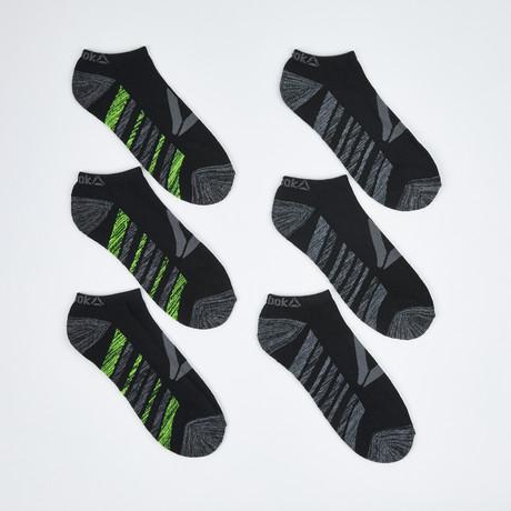Logan Low Cut Socks // 6-Pack // Black + Green