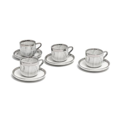 3.5oz. Espresso // Marble + Platinum // Set of 4