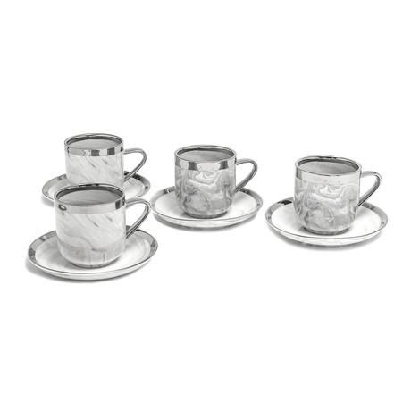 7oz. Tea Coffee // Marble + Platinum // Set of 4