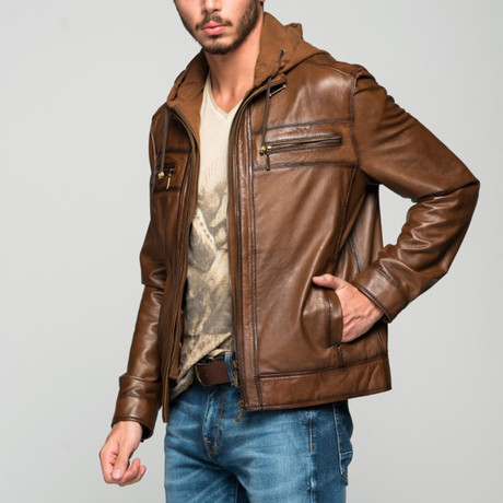 Albina Leather Jacket // Antique Brown (XS)