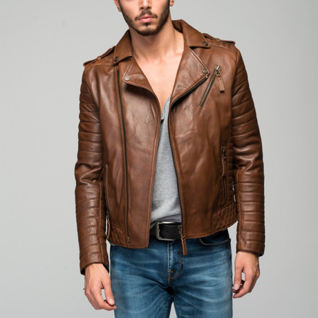 Barbro Leather Jacket // Antique Brown (XS)