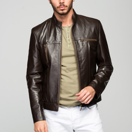 Halius Leather Jacket // Hazlenut Brown (XS)