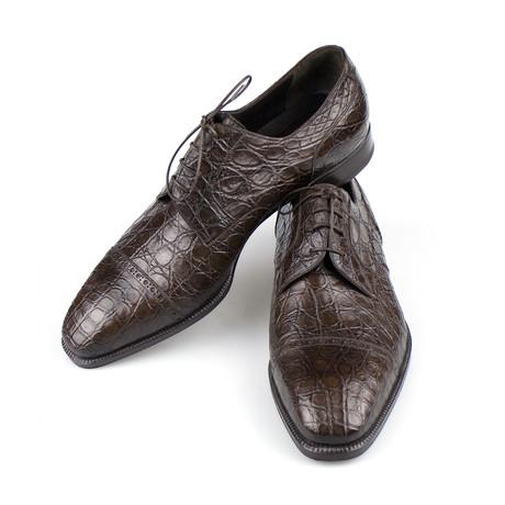 Brioni // Crocodile Leather Derby Dress Shoes // Brown (8.5)