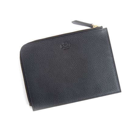 Suede Lined Leather Travel Pouch (Black)