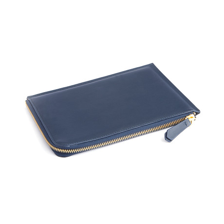 Suede Lined Leather Travel Pouch // Blue