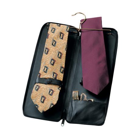 Zippered Travel Tie Case // Black
