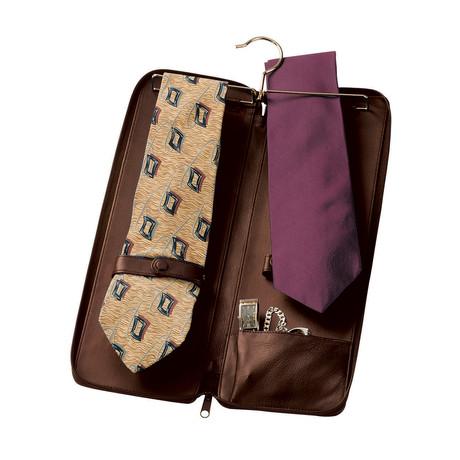 Zippered Travel Tie Case // Brown