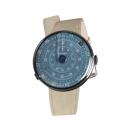Klokers Quartz // KLOK-01-D7 Midnight Blue // Gray Alcantara Simple Strap