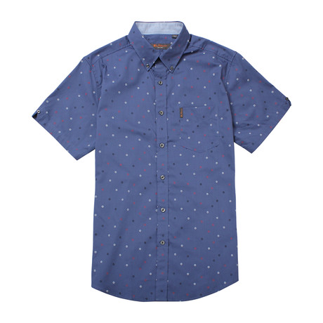 Short Sleeve Scatted Target Print Shirt // True Navy (S)