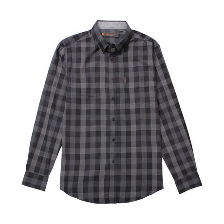 Long Sleeve Textured Plaid Shirt // Black (S)