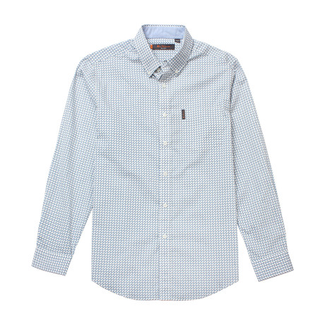 Long Sleeve Multi Geo Print Shirt // Light Gray (S)