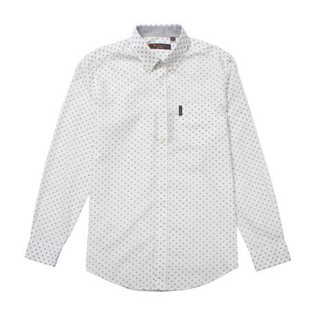 Long Sleeve Diamond Geo Print Shirt // White (S)