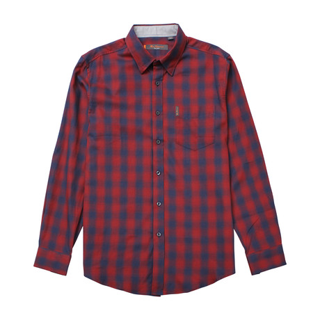 Long Sleeve Ombre Plaid Shirt // Wine (S)
