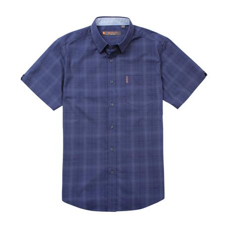 Short Sleeve Ombre Plaid Shirt // Indigo Blue (S)