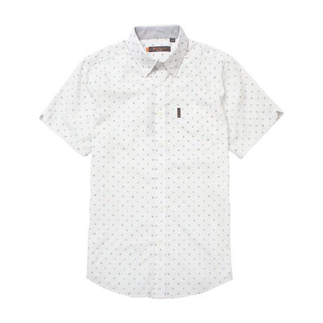 Short Sleeve Mixed Target Print Shirt // White (S)