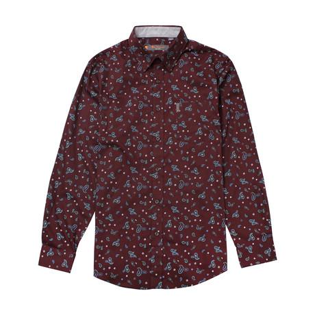 Long Sleeve Paisley Print Shirt // Wine (S)