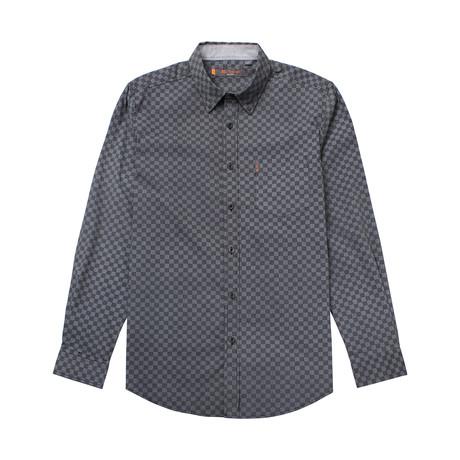 Long Sleeve Checkered Print Shirt // Black (S)