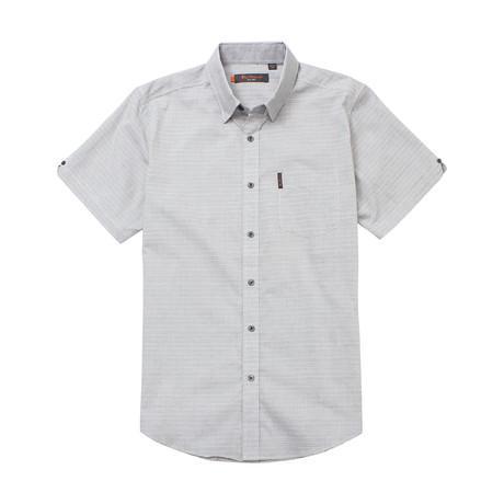 Short Sleeve Horizontal Stripe Shirt // Light Ash (S)