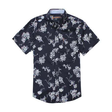 Short Sleeve Trop Floral Print Shirt // Navy Blazer (S)