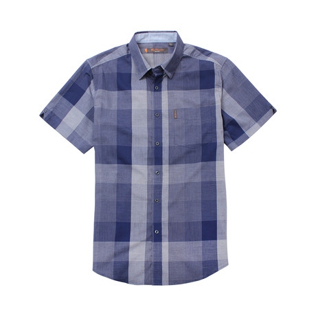 Short Sleeve Exploded Check Shirt // Blue (S)