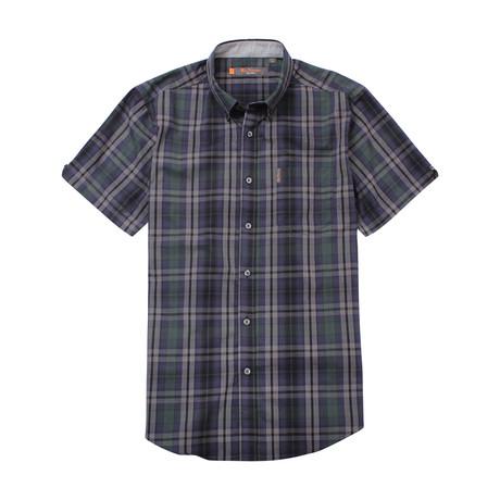Short Sleeve End On End Plaid Shirt // Dark Green (S)