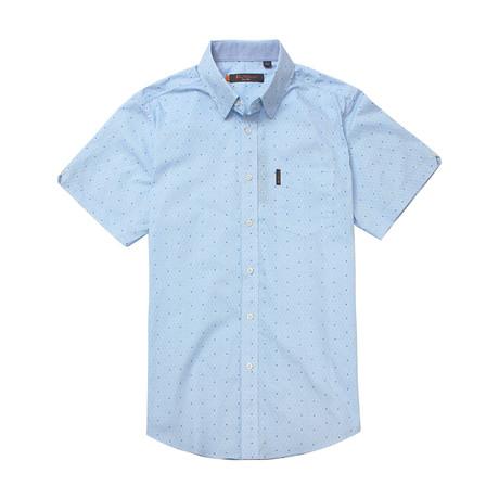 Short Sleeve Geo Maze Print Shirt // Blue (S)