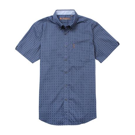 Short Sleeve Diamond Print Shirt // True Navy (S)