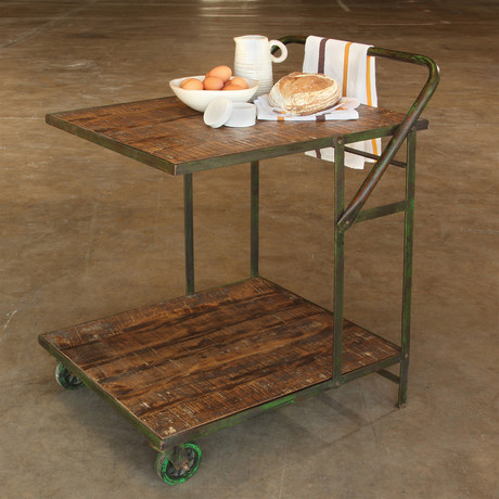 Ojai Iron Garden Trolley // Antique Green // Distressed Wood