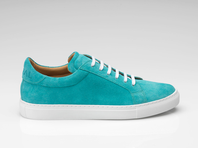Photo of Goral Footwear Handmade Leather Sneakers Suede Sneaker // Teal (UK: 7) by Touch Of Modern
