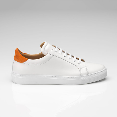 Leather Suede Sneaker // White + Orange (UK: 7)