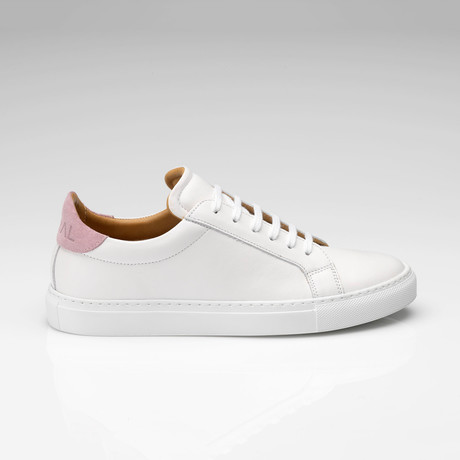 Leather Suede Sneaker // White + Pink (UK: 7)