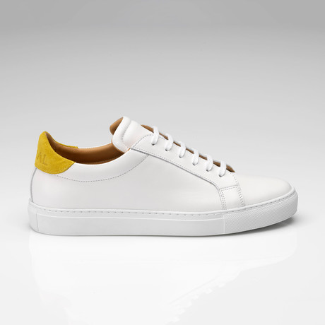Leather Suede Sneaker // White + Yellow (UK: 7)