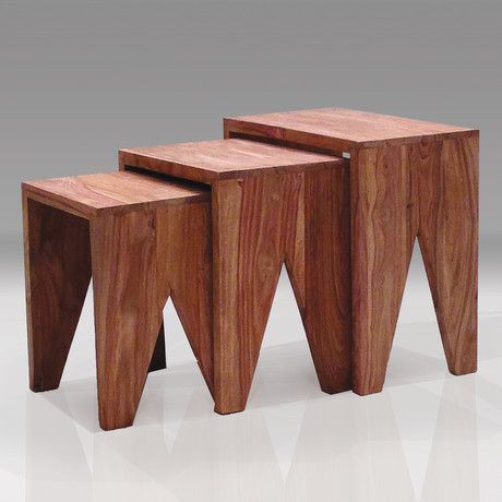 Cut 3 Piece Nesting Low End Table