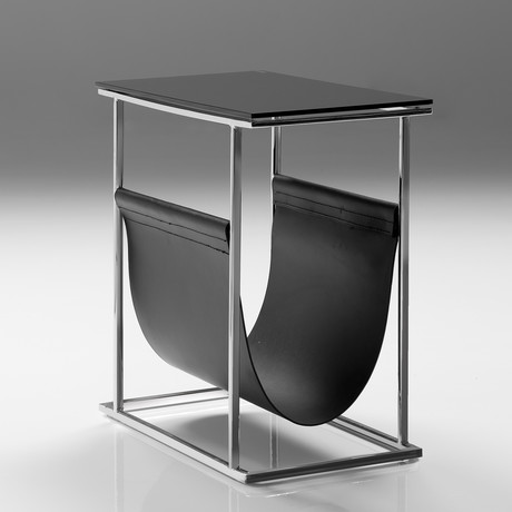 Cor Magazine Rack Black // Tempered Glass Black Leather Magazine Sling + Polished Stainless Steel