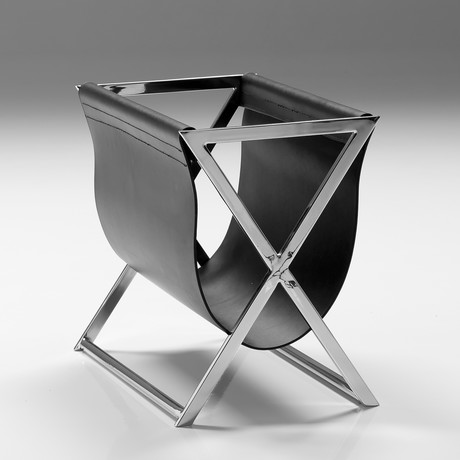 Mag Magazine Rack // Black Leather Sling + Polished Stainless Steel