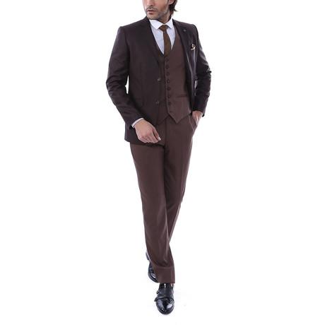 Benny 3 Piece Slim Fit Suit // Brown (Euro: 44)