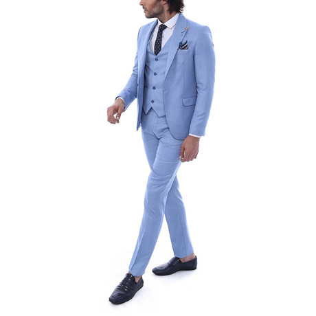 Mateo 3 Piece Slim Fit Suit // Light Blue (Euro: 44)