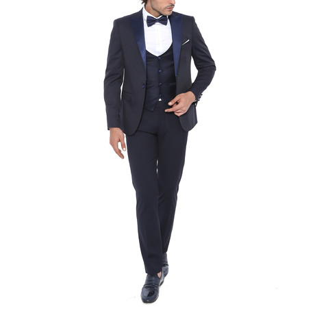 Nick 3 Piece Slim Fit Suit // Midnight (Euro: 44)