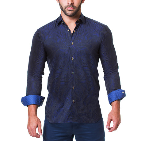Fibonacci Dress Shirt // Paisley Navy (S)
