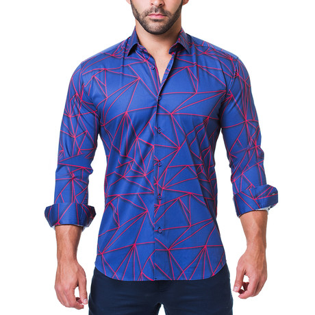 Fibonacci Dress Shirt // Geometric Blue (S)