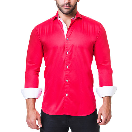 Einstein Dress Shirt // Satin Red (S)