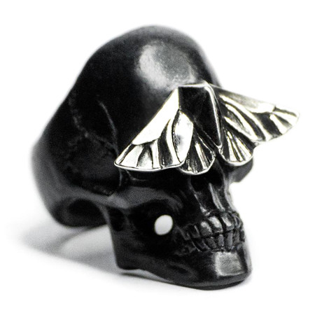 Black Skull & Moth Ring (Size: 6)